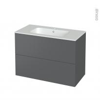 Meuble de salle de bains - Plan vasque REZO - HELIA Gris - 2 tiroirs - Côtés décors - L100,5 x H71,5 x P50,5 cm