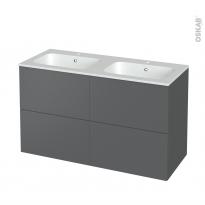 Meuble de salle de bains - Plan double vasque REZO - HELIA Gris - 4 tiroirs - Côtés décors - L120,5 x H71,5 x P50,5 cm