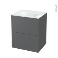 Meuble de salle de bains - Plan vasque VALA - HELIA Gris - 2 tiroirs - Côtés décors - L60,5 x H71,2 x P50,5 cm