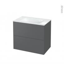 Meuble de salle de bains - Plan vasque VALA - HELIA Gris - 2 tiroirs - Côtés décors - L80.5 x H71.2 x P50.5 cm