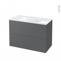 Meuble de salle de bains - Plan vasque VALA - HELIA Gris - 2 tiroirs - Côtés décors - L100,5 x H71,2 x P50,5 cm