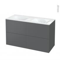 Meuble de salle de bains - Plan double vasque VALA - HELIA Gris - 4 tiroirs - Côtés décors - L120,5 x H71,2 x P50,5 cm