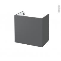Meuble de salle de bains - Sous vasque - HELIA Gris - 1 porte - Côtés décors - L60 x H57 x P40 cm