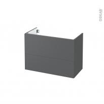 Meuble de salle de bains - Sous vasque - HELIA Gris - 2 tiroirs - Côtés décors - L80 x H57 x P40 cm
