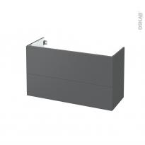 Meuble de salle de bains - Sous vasque - HELIA Gris - 2 tiroirs - Côtés décors - L100 x H57 x P40 cm