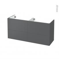Meuble de salle de bains - Sous vasque double - HELIA Gris - 4 tiroirs - Côtés décors - L120 x H57 x P40 cm