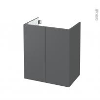 Meuble de salle de bains - Sous vasque - HELIA Gris - 2 portes - Côtés décors - L60 x H70 x P40 cm