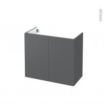 Meuble de salle de bains - Sous vasque - HELIA Gris - 2 portes - Côtés décors - L80 x H70 x P40 cm