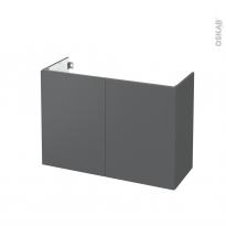 Meuble de salle de bains - Sous vasque - HELIA Gris - 2 portes - Côtés décors - L100 x H70 x P40 cm