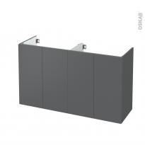 Meuble de salle de bains - Sous vasque double - HELIA Gris - 4 portes - Côtés décors - L120 x H70 x P40 cm