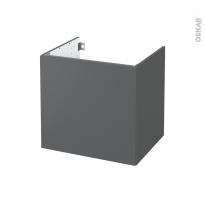 Meuble de salle de bains - Sous vasque - HELIA Gris - 1 porte - Côtés décors - L60 x H57 x P50 cm
