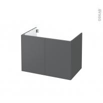 Meuble de salle de bains - Sous vasque - HELIA Gris - 2 portes - Côtés décors - L80 x H57 x P50 cm