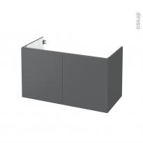 Meuble de salle de bains - Sous vasque - HELIA Gris - 2 portes - Côtés décors - L100 x H57 x P50 cm