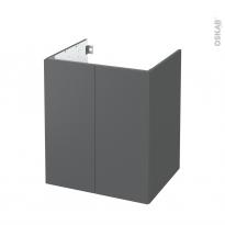 Meuble de salle de bains - Sous vasque - HELIA Gris - 2 portes - Côtés décors - L60 x H70 x P50 cm