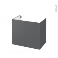 Meuble de salle de bains - Sous vasque - HELIA Gris - 2 portes - Côtés décors - L80 x H70 x P50 cm