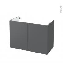 Meuble de salle de bains - Sous vasque - HELIA Gris - 2 portes - Côtés décors - L100 x H70 x P50 cm
