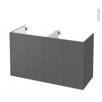Meuble de salle de bains - Sous vasque double - HELIA Gris - 4 portes - Côtés décors - L120 x H70 x P50 cm