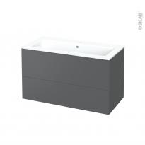 Meuble de salle de bains - Plan vasque NAJA - HELIA Gris - 2 tiroirs - Côtés décors - L100,5 x H58,5 x P50,5 cm