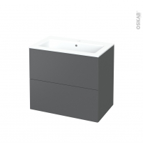 Meuble de salle de bains - Plan vasque NAJA - HELIA Gris - 2 tiroirs - Côtés décors - L80.5 x H71.5 x P50.5 cm