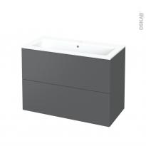 Meuble de salle de bains - Plan vasque NAJA - HELIA Gris - 2 tiroirs - Côtés décors - L100,5 x H71,5 x P50,5 cm