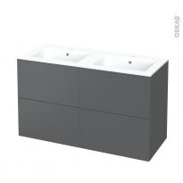 Meuble de salle de bains - Plan double vasque NAJA - HELIA Gris - 4 tiroirs - Côtés décors - L120,5 x H71,5 x P50,5 cm