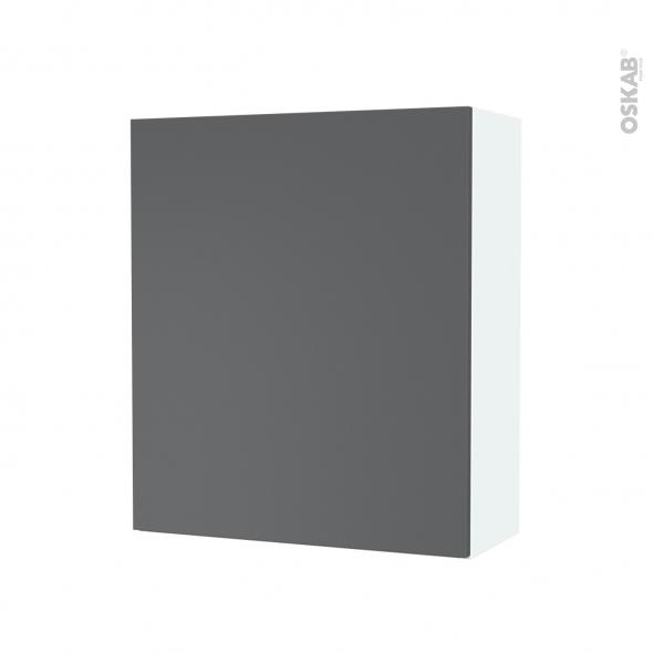 Armoire de salle de bains - Rangement haut - HELIA Gris - 1 porte - Côtés blancs - L60 x H70 x P27 cm