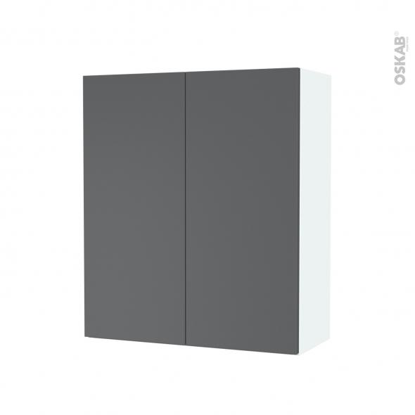 Armoire de salle de bains - Rangement haut - HELIA Gris - 2 portes - Côtés blancs - L60 x H70 x P27 cm