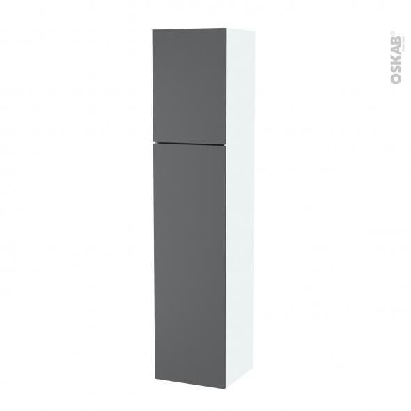 Colonne de salle de bains - 2 portes - HELIA Gris - Côtés blancs - Version A - L40 x H182 x P40 cm