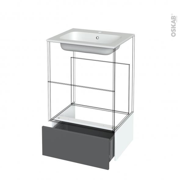 Tiroir sous meuble - Socle n°51 - HELIA Gris - pour meuble salle de bains - L60 x H26 x P45 cm