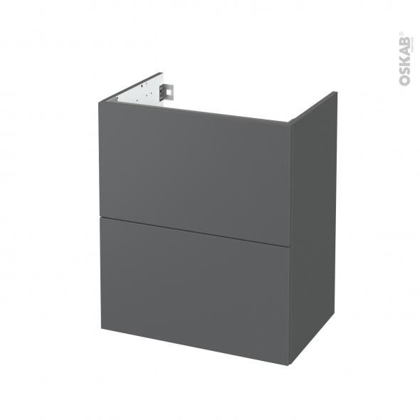 Meuble de salle de bains - Sous vasque - HELIA Gris - 2 tiroirs - Côtés décors - L60 x H70 x P40 cm