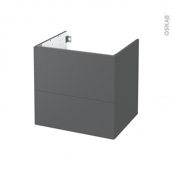 Meuble de salle de bains - Sous vasque - HELIA Gris - 2 tiroirs - Côtés décors - L60 x H57 x P50 cm