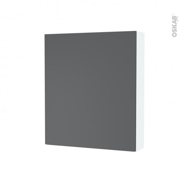 Armoire de toilette - Rangement haut - HELIA Gris - 1 porte - Côtés blancs - L60 x H70 x P17 cm
