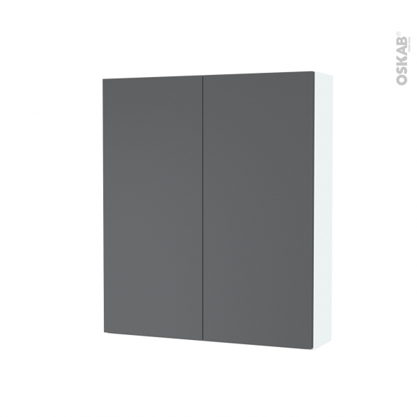 Armoire de toilette - Rangement haut - HELIA Gris - 2 portes - Côtés blancs - L60 x H70 x P17 cm