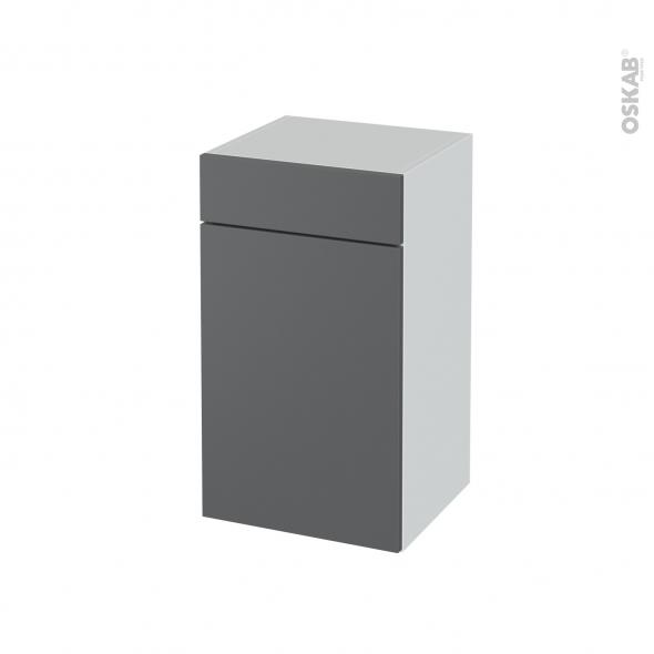Meuble de salle de bains - Rangement bas - HELIA Gris - 1 porte 1 tiroir - L40 x H70 x P37 cm