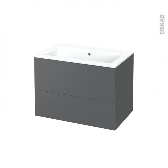 Meuble de salle de bains - Plan vasque NAJA - HELIA Gris - 2 tiroirs - Côtés décors - L80.5 x H58.5 x P50.5 cm