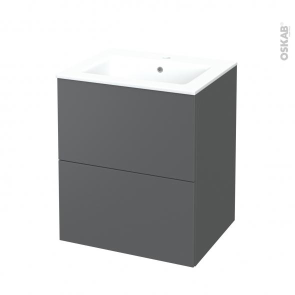 Meuble de salle de bains - Plan vasque NAJA - HELIA Gris - 2 tiroirs - Côtés décors - L60,5 x H71,5 x P50,5 cm