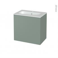 Meuble de salle de bains - Plan vasque REZO - HELIA Vert - 1 porte - Côtés décors - L60,5 x H58,5 x P40,5 cm