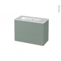 Meuble de salle de bains - Plan vasque REZO - HELIA Vert - 2 tiroirs - Côtés décors - L80.5 x H58.5 x P40.5 cm