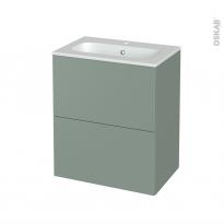 Meuble de salle de bains - Plan vasque REZO - HELIA Vert - 2 tiroirs - Côtés décors - L60,5 x H71,5 x P40,5 cm