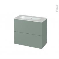 Meuble de salle de bains - Plan vasque REZO - HELIA Vert - 2 tiroirs - Côtés décors - L80.5 x H71.5 x P40.5 cm