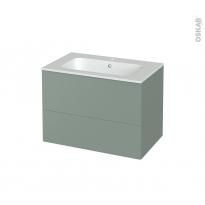 Meuble de salle de bains - Plan vasque REZO - HELIA Vert - 2 tiroirs - Côtés décors - L80.5 x H58.5 x P50.5 cm