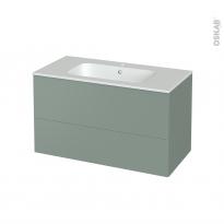 Meuble de salle de bains - Plan vasque REZO - HELIA Vert - 2 tiroirs - Côtés décors - L100,5 x H58,5 x P50,5 cm