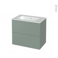Meuble de salle de bains - Plan vasque REZO - HELIA Vert - 2 tiroirs - Côtés décors - L80.5 x H71.5 x P50.5 cm
