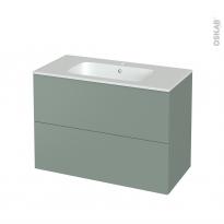 Meuble de salle de bains - Plan vasque REZO - HELIA Vert - 2 tiroirs - Côtés décors - L100,5 x H71,5 x P50,5 cm