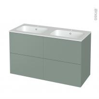 Meuble de salle de bains - Plan double vasque REZO - HELIA Vert - 4 tiroirs - Côtés décors - L120,5 x H71,5 x P50,5 cm