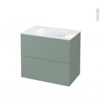 Meuble de salle de bains - Plan vasque VALA - HELIA Vert - 2 tiroirs - Côtés décors - L80.5 x H71.2 x P50.5 cm