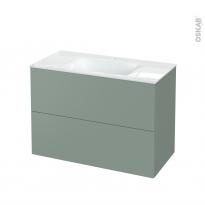 Meuble de salle de bains - Plan vasque VALA - HELIA Vert - 2 tiroirs - Côtés décors - L100,5 x H71,2 x P50,5 cm
