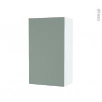 Armoire de salle de bains - Rangement haut - HELIA Vert - 1 porte - Côtés blancs - L40 x H70 x P27 cm