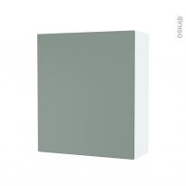 Armoire de salle de bains - Rangement haut - HELIA Vert - 1 porte - Côtés blancs - L60 x H70 x P27 cm