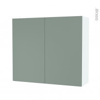 Armoire de salle de bains - Rangement haut - HELIA Vert - 2 portes - Côtés blancs - L80 x H70 x P27 cm